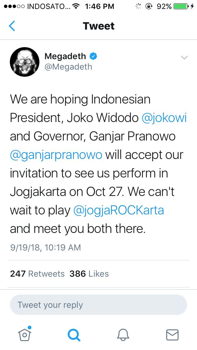 Megadeth Undang Joko Widodo dan Ganjar Pranowo Hadir di JogjaRockarta 2018